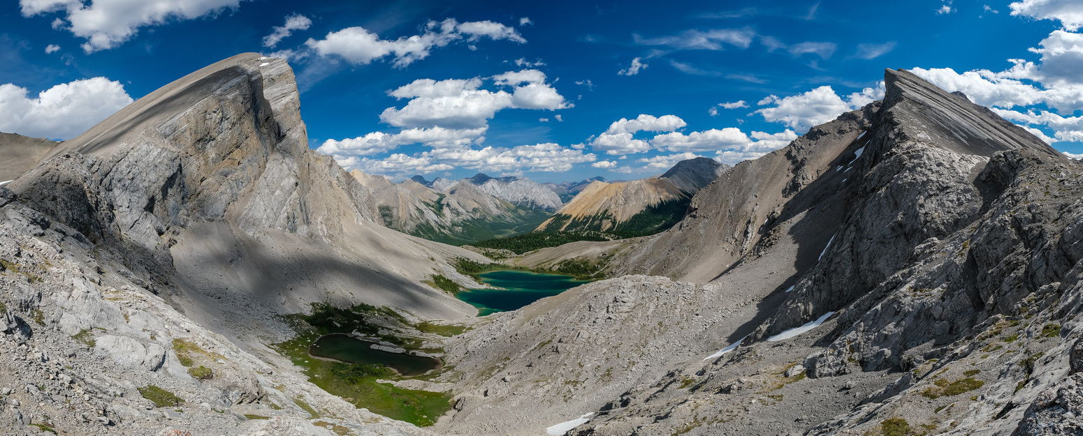 Views over the Block Lakes from the traverse. Block Mountain at left, unnamed at right.