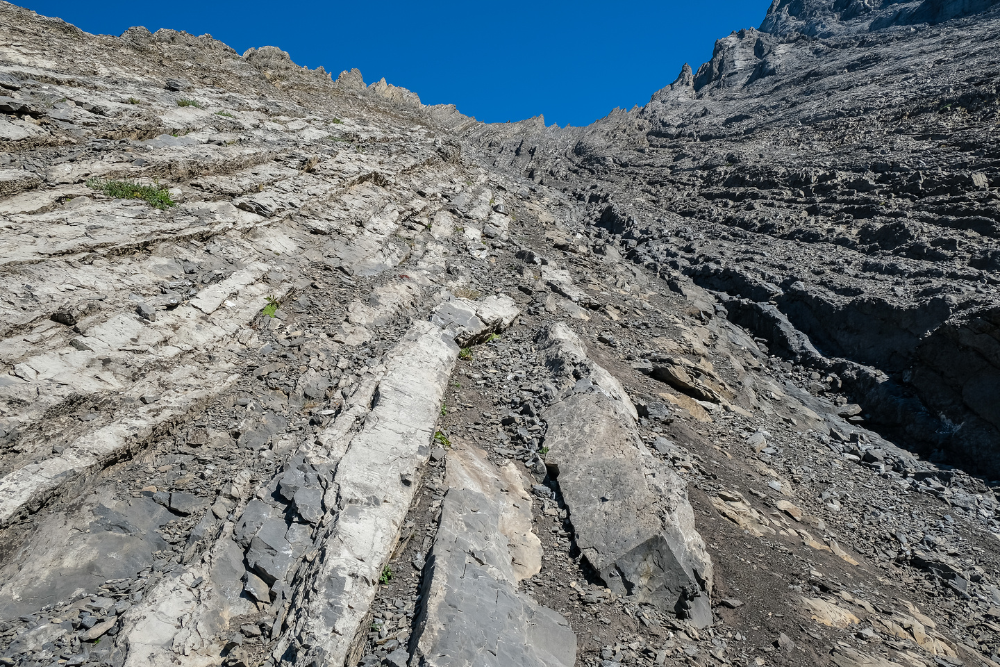 Using rock ribs and slabs in the gully makes for a speedy and safer ascent.