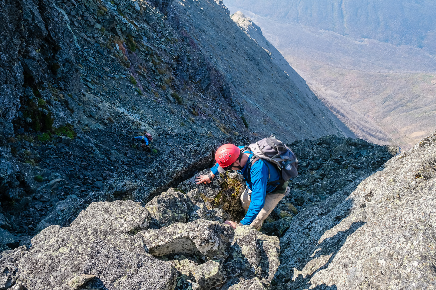 The gully is easy to moderate scrambling.