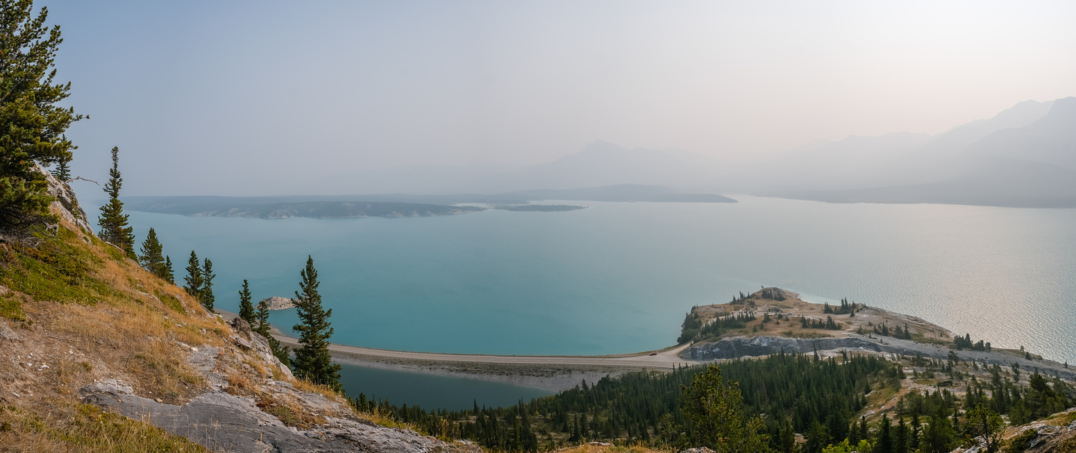 Smoky views back over Windy Point and Abraham Lake.