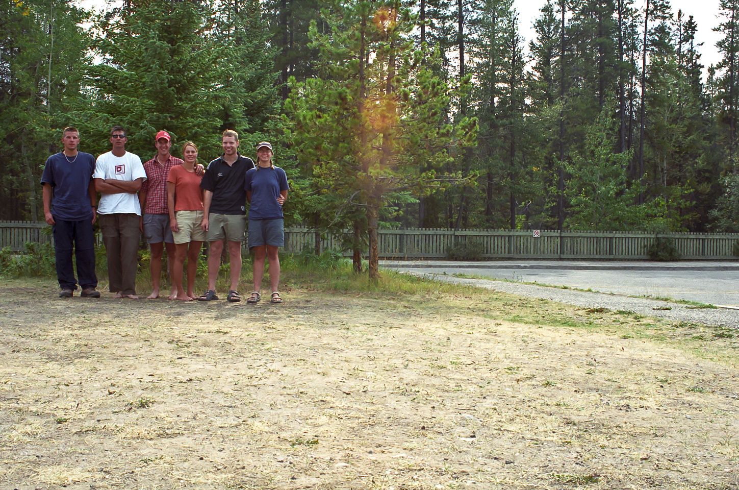 Kev, Jon, Vern, Hanneke, Gus and Gwen at the end of our trip in the Maligne Canyon parking lot.