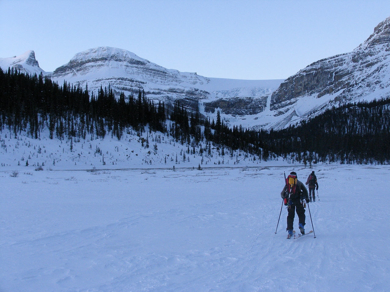 Getting near the back of Bow Lake with Bow Falls at center and the Onion and St. Nicholas at far left.