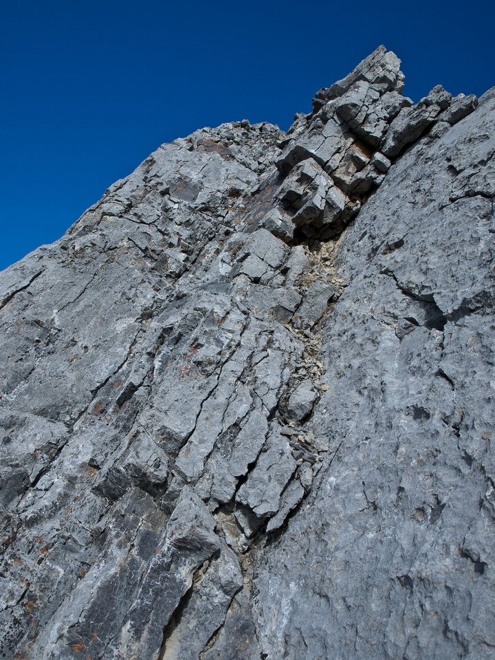Looking back up the crux.