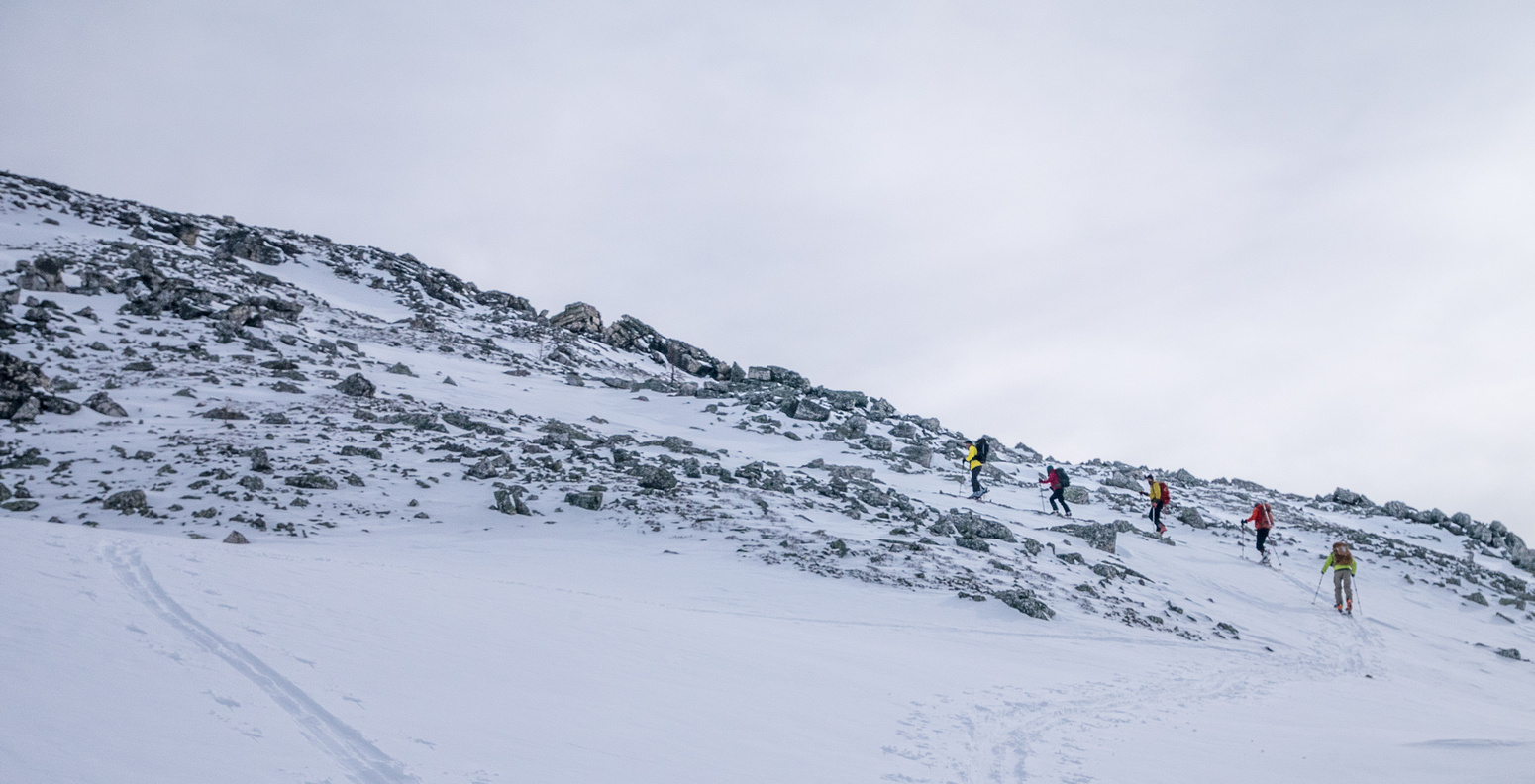 Working our way up the snow gully.