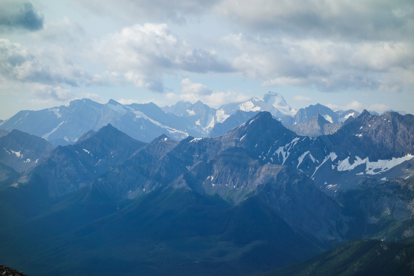 Mounts Sarrail and Joffre across the Kananaskis Lakes region.