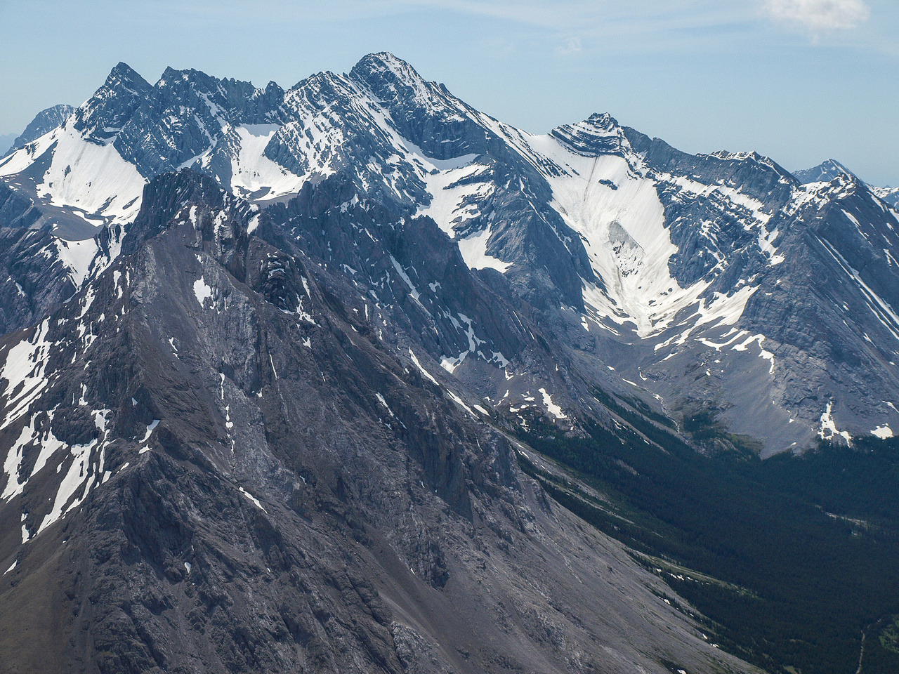 Mount Rae and the Rae glacier as seen from the summit of Tombstone South.