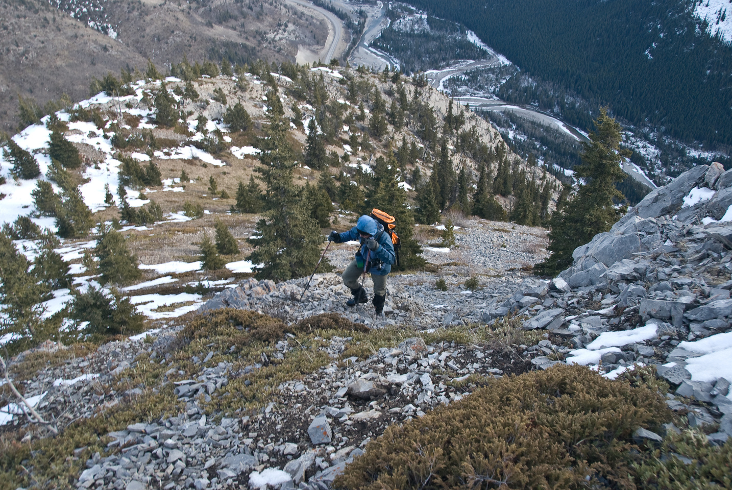 Ascending to the summit.