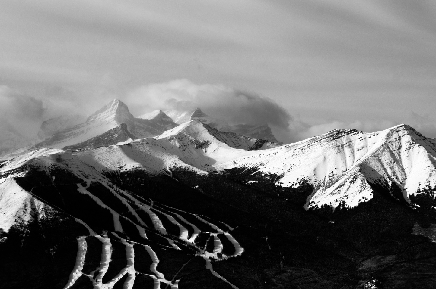 Looking over Nakiska and Mount Allan to Mount Lougheed's four summits.