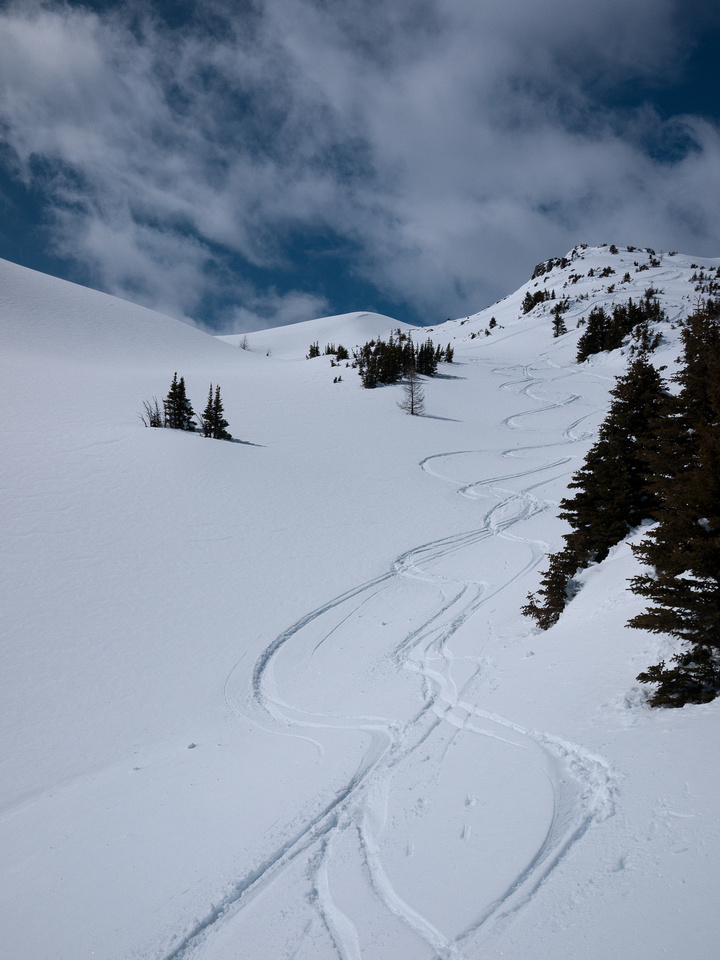 Skiing down the south ridge.