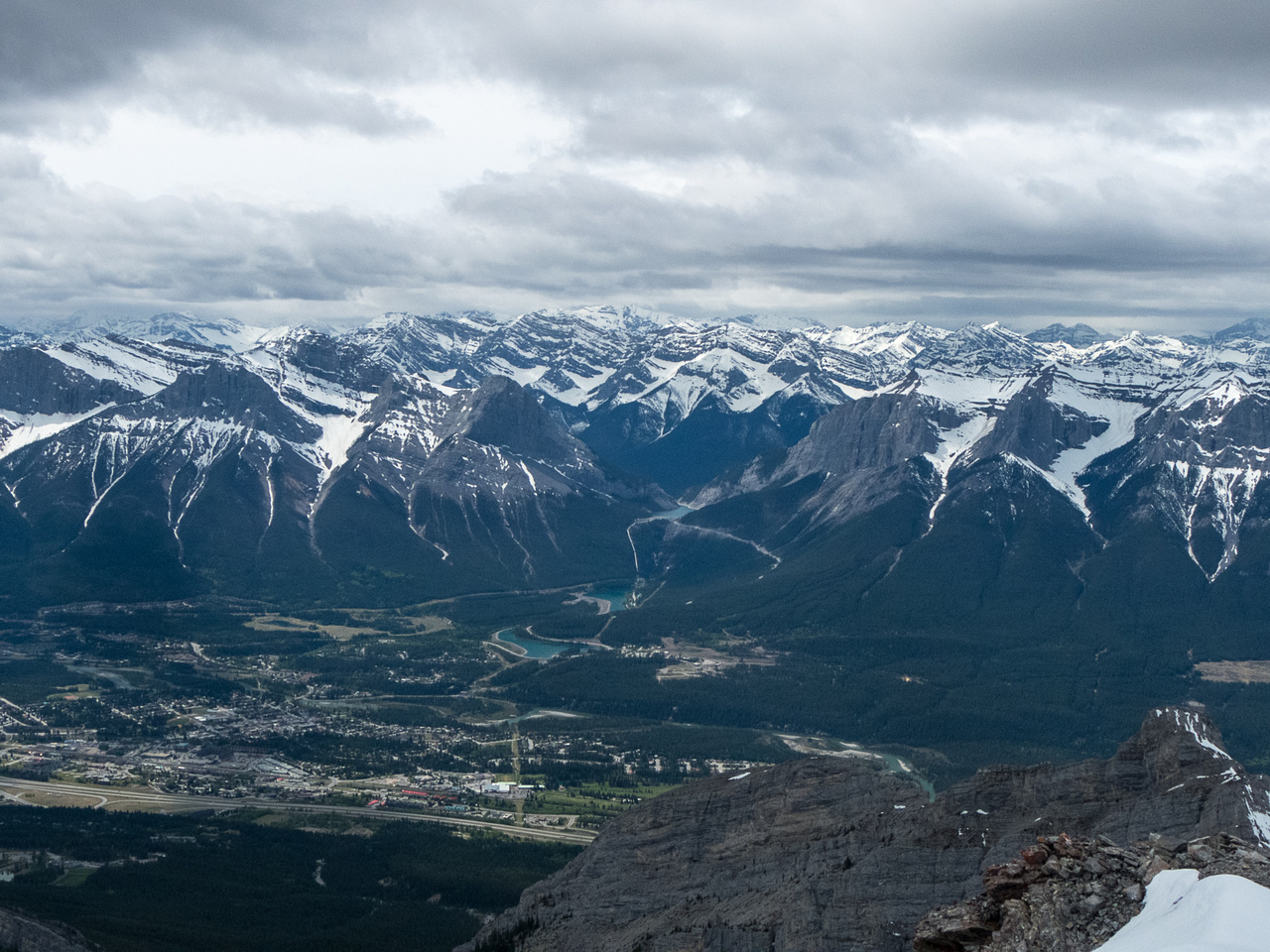 Looking over Canmore to EEOR and Ha Ling with the Goat Range towering beyond.