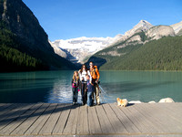 A family pose with Lake Louise and Mount Victoria before we start the hike.
