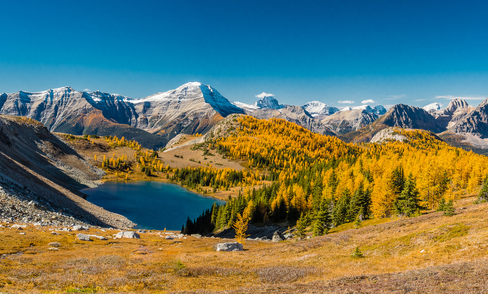 From near Citadel Pass, looking over Citadel Lake towards the Ball Range with The Monarch and Quartz Hill on the right.