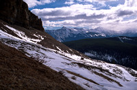 Looking back over Skogan Pass towards Old Baldy and Mount McDougall.