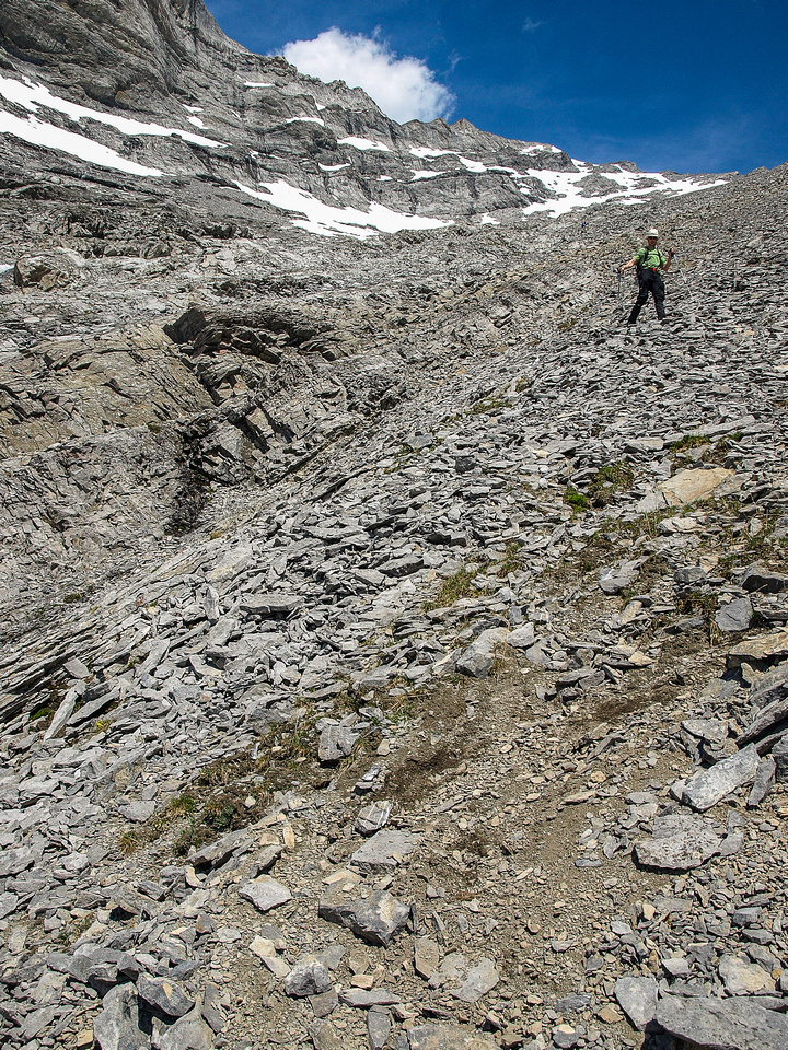 Descending the south face.