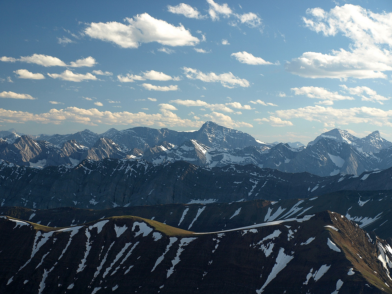Looking over Grizzly and Highwood Ridge at Mount Joffre.