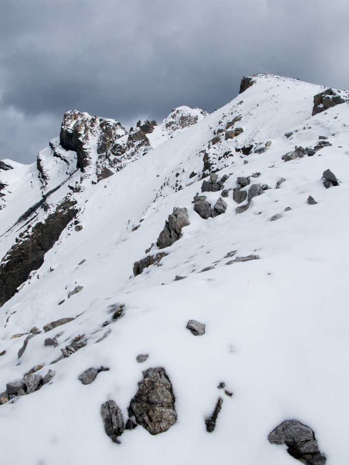 The summit looks scary and snowy from this angle on the way up.