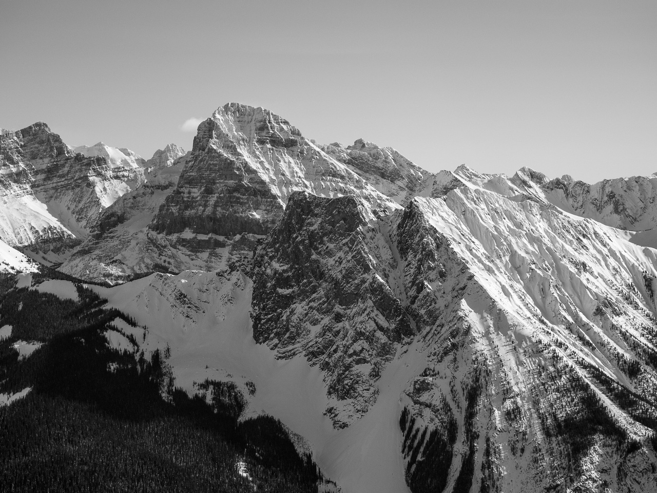 Looking over Burgess (left) and Walcott (right) at Mount Stephen from the summit of Emerald Peak.