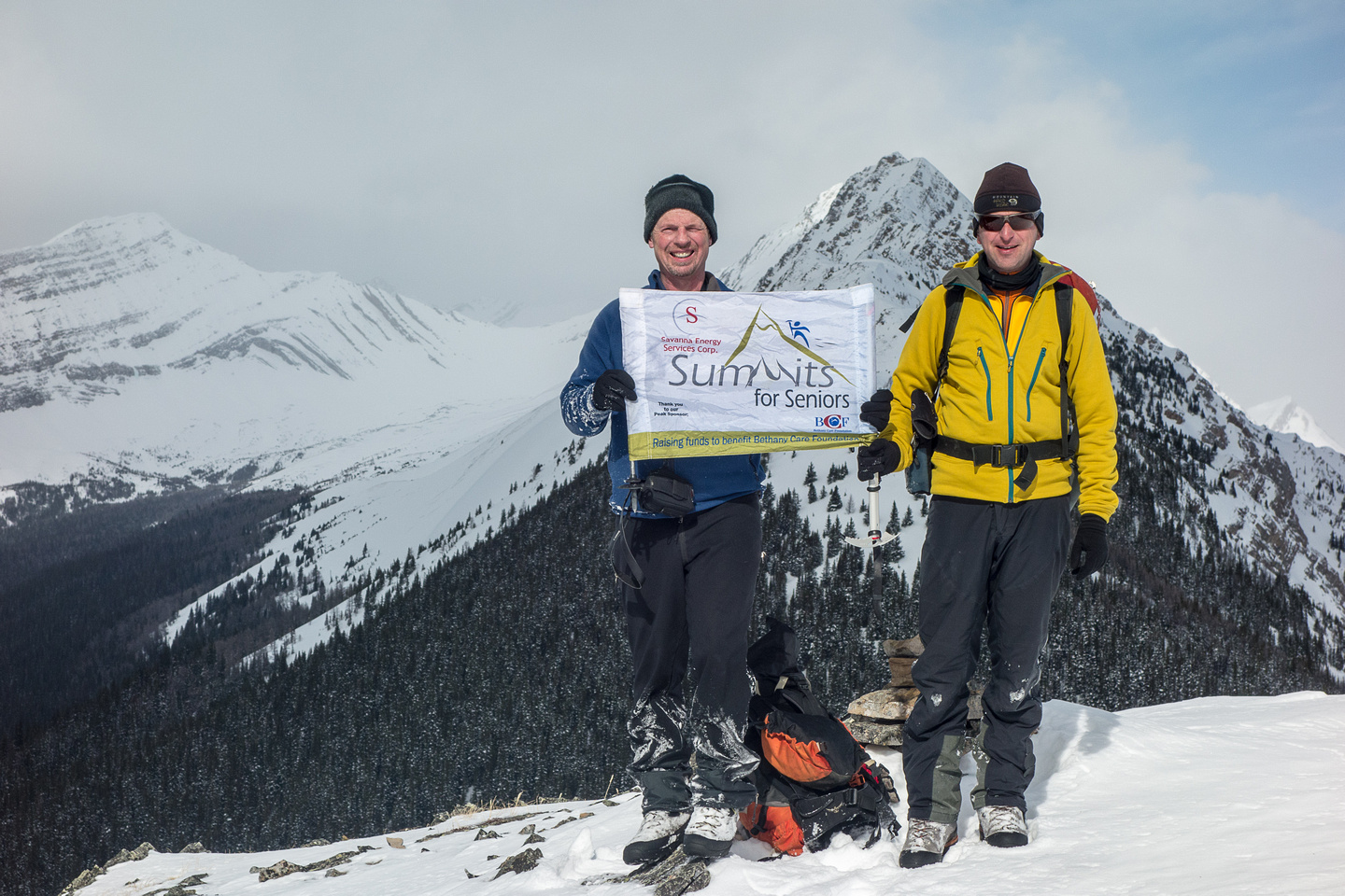 Raf and Kev celebrate his 50th summit on Little Lawson.