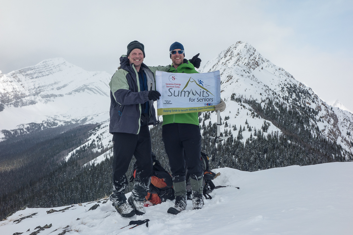 Vern and Kev celebrate his 50th summit on Little Lawson.