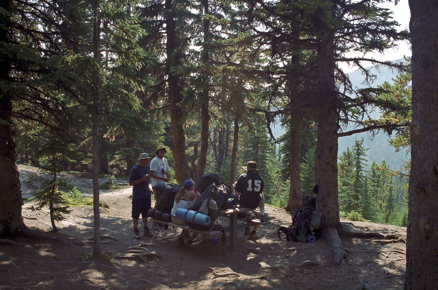 The group takes a break at the Evelyn Creek campground.