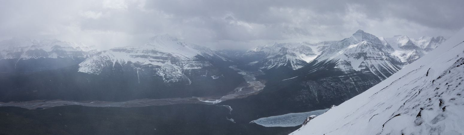 Views off the final ascent slope include (L to R) Murchison, Sarbach, Glacier Lake and Outram.