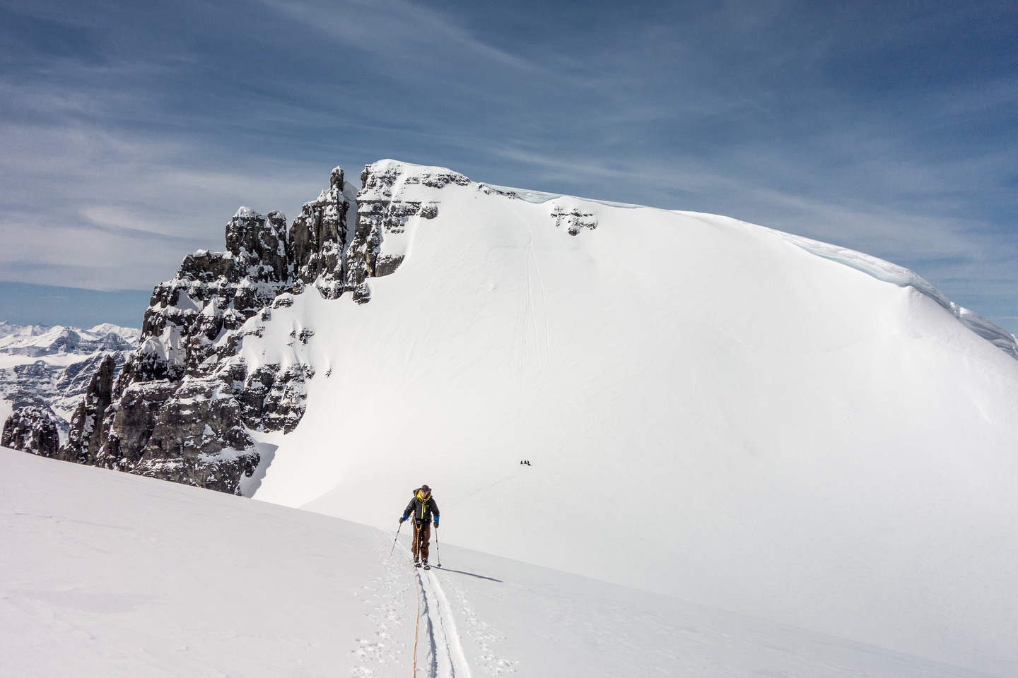 Skiing up the north ridge on South Twin.