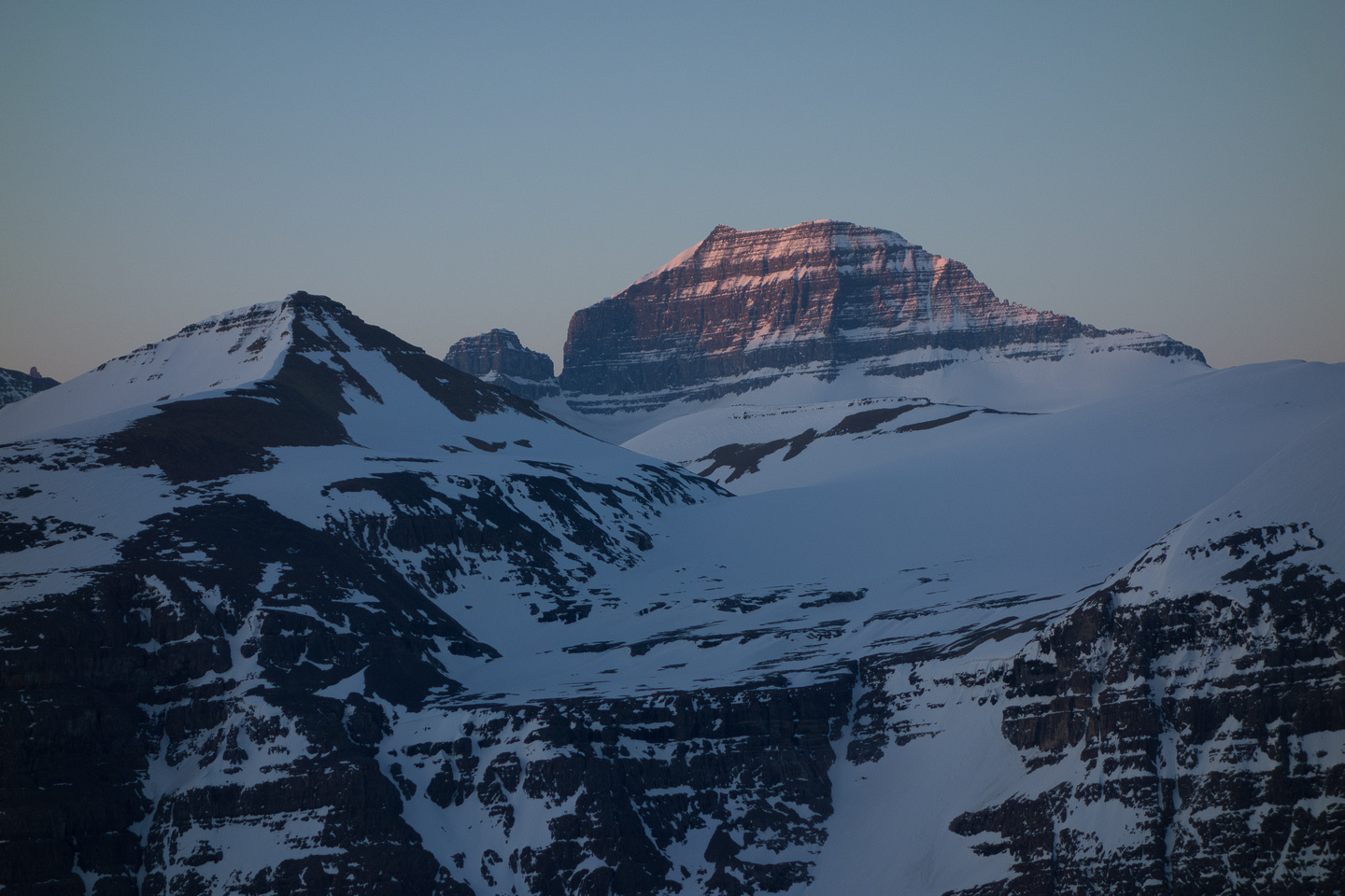 Sunrise on Mount Saskatchewan - Big Bend Peak in the foreground.
