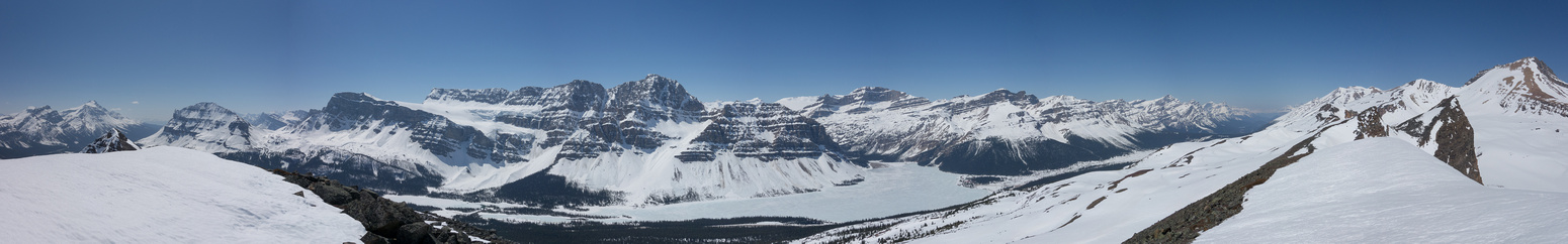 Pano looking west includes the Bow Lake area.