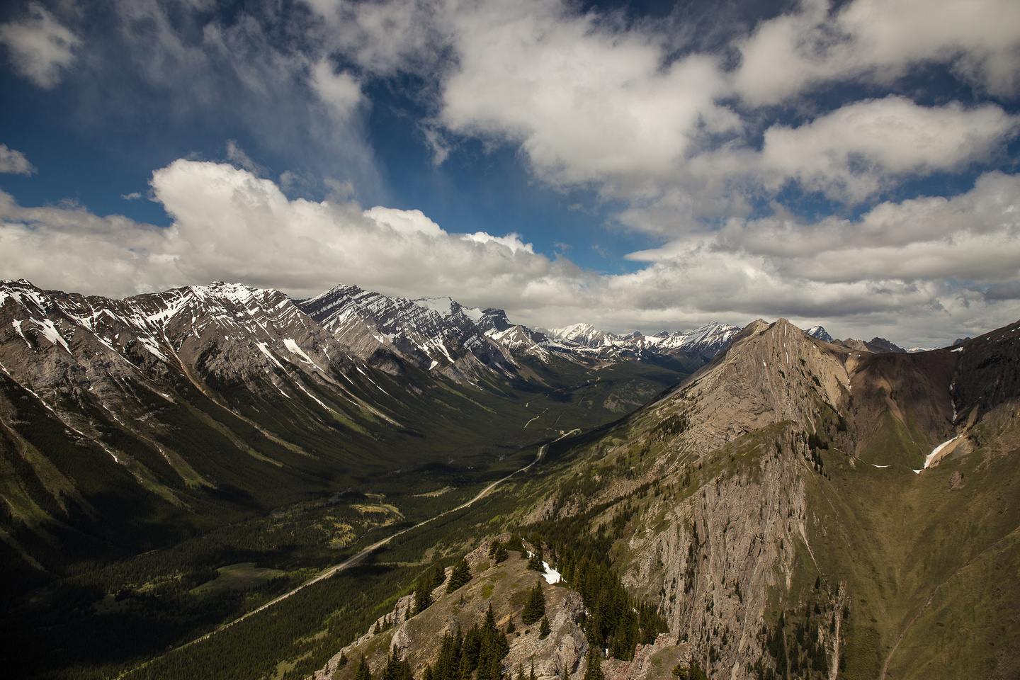 Packenham Junior at right foreground in this view down the Kananaskis Valley.