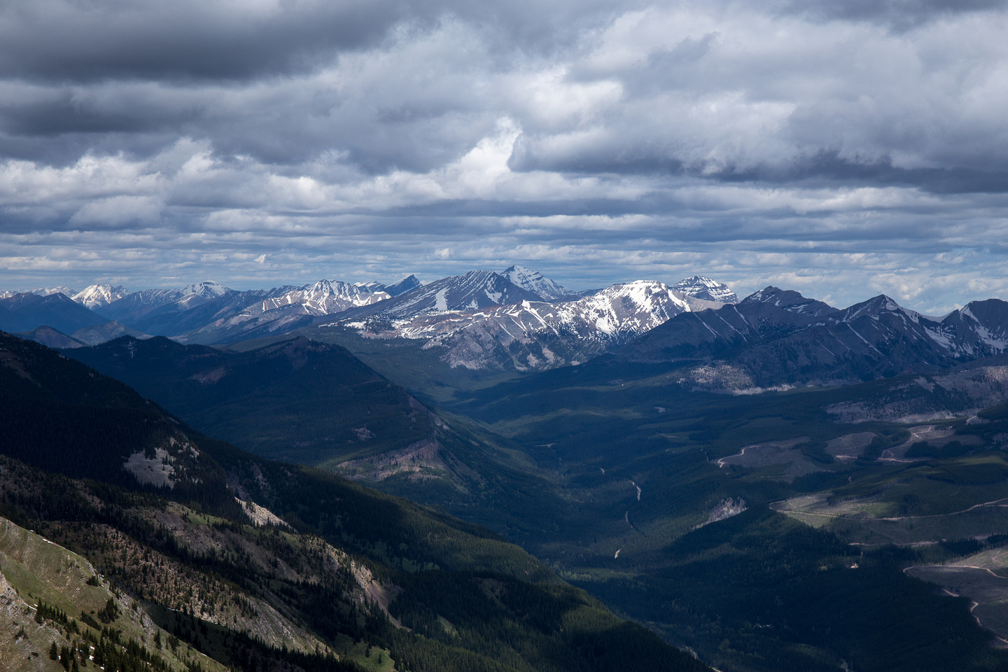 Looking southwest towards the Three Sisters near the town of Fernie.