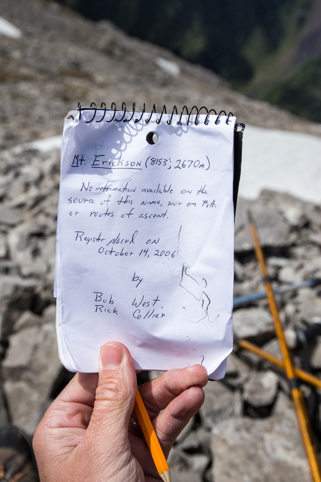 The summit register was quite empty and 7 years old. I was surprised that we were only the 4th ascent party to sign it in 7 years.