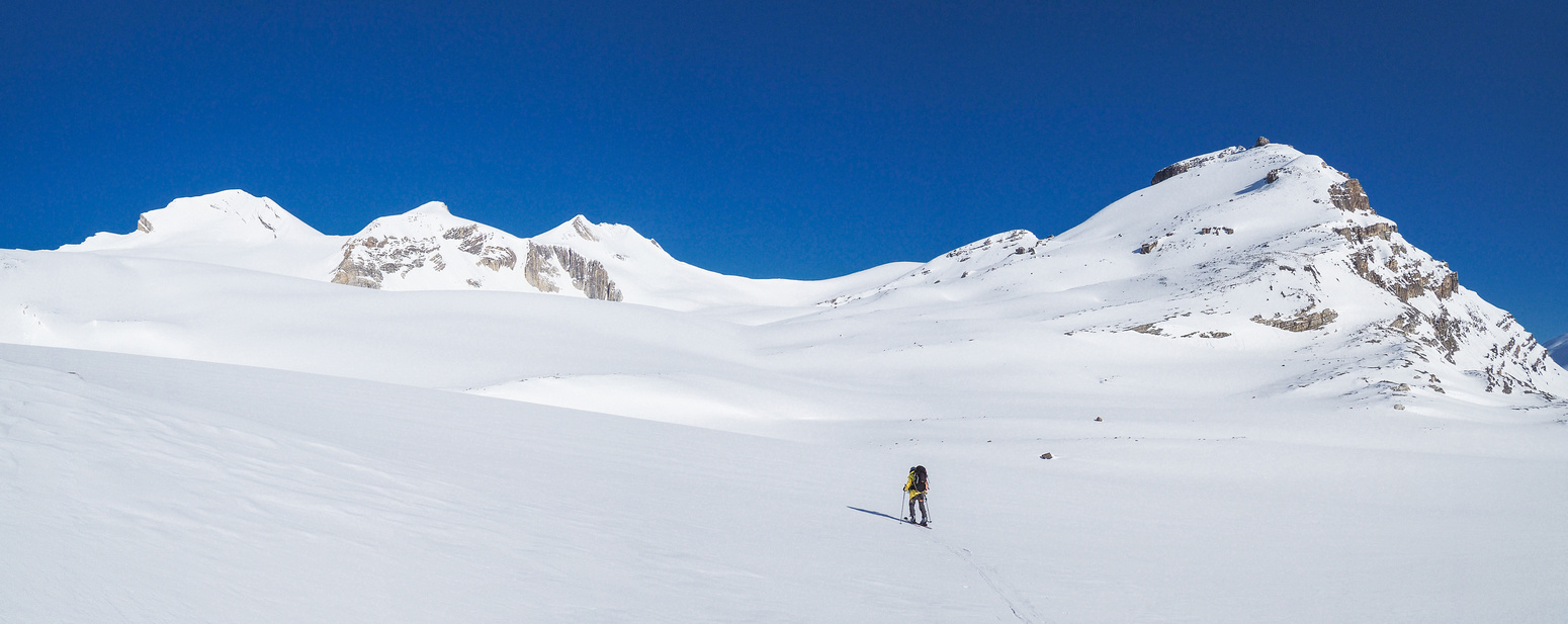Big terrain - but small compared to the Columbia Icefields. At least on the Wapta you make progress every 1/2 hour!