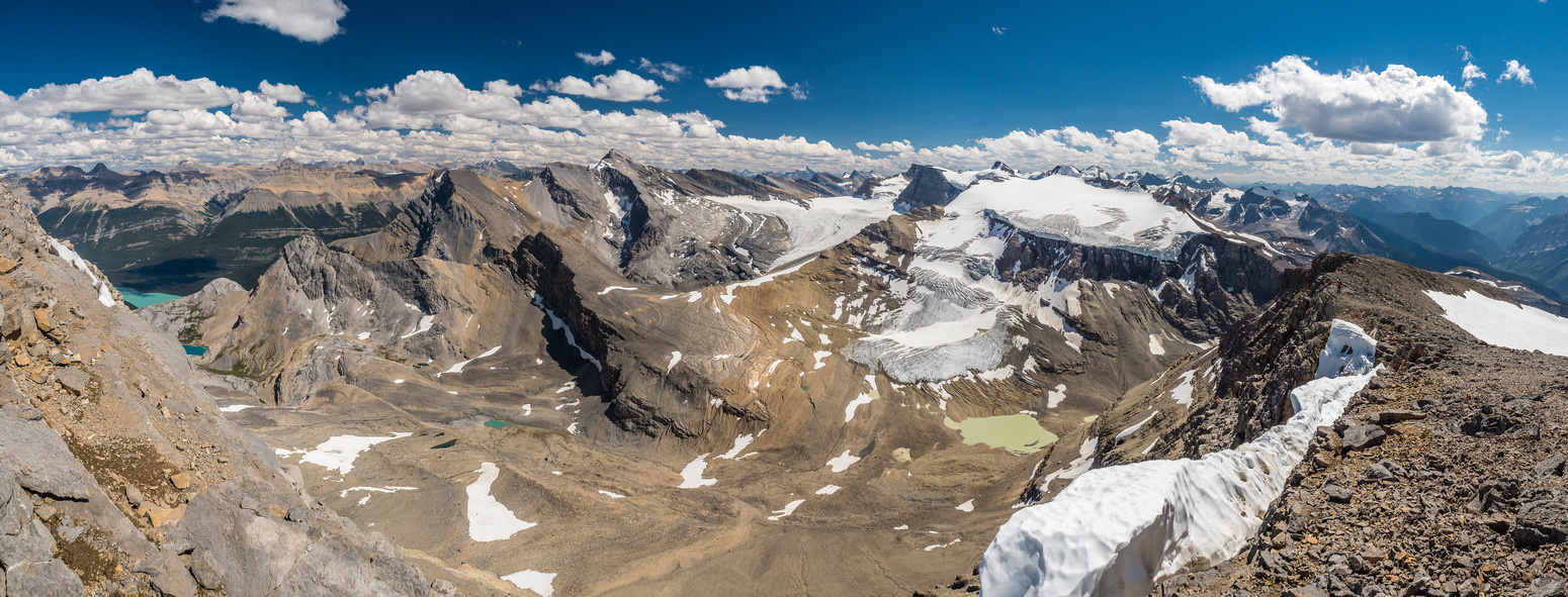 Stunning views off the south ridge of Breaker looking south towards the Wapta Icefields with Mistaya Lake and our starting point just visible at far left.