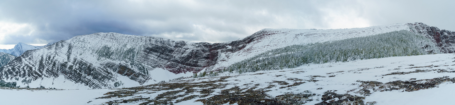 The final slog to the ridge on the right and Mount Rowe on the left. We descended a wee bit to take the thinnest bush.