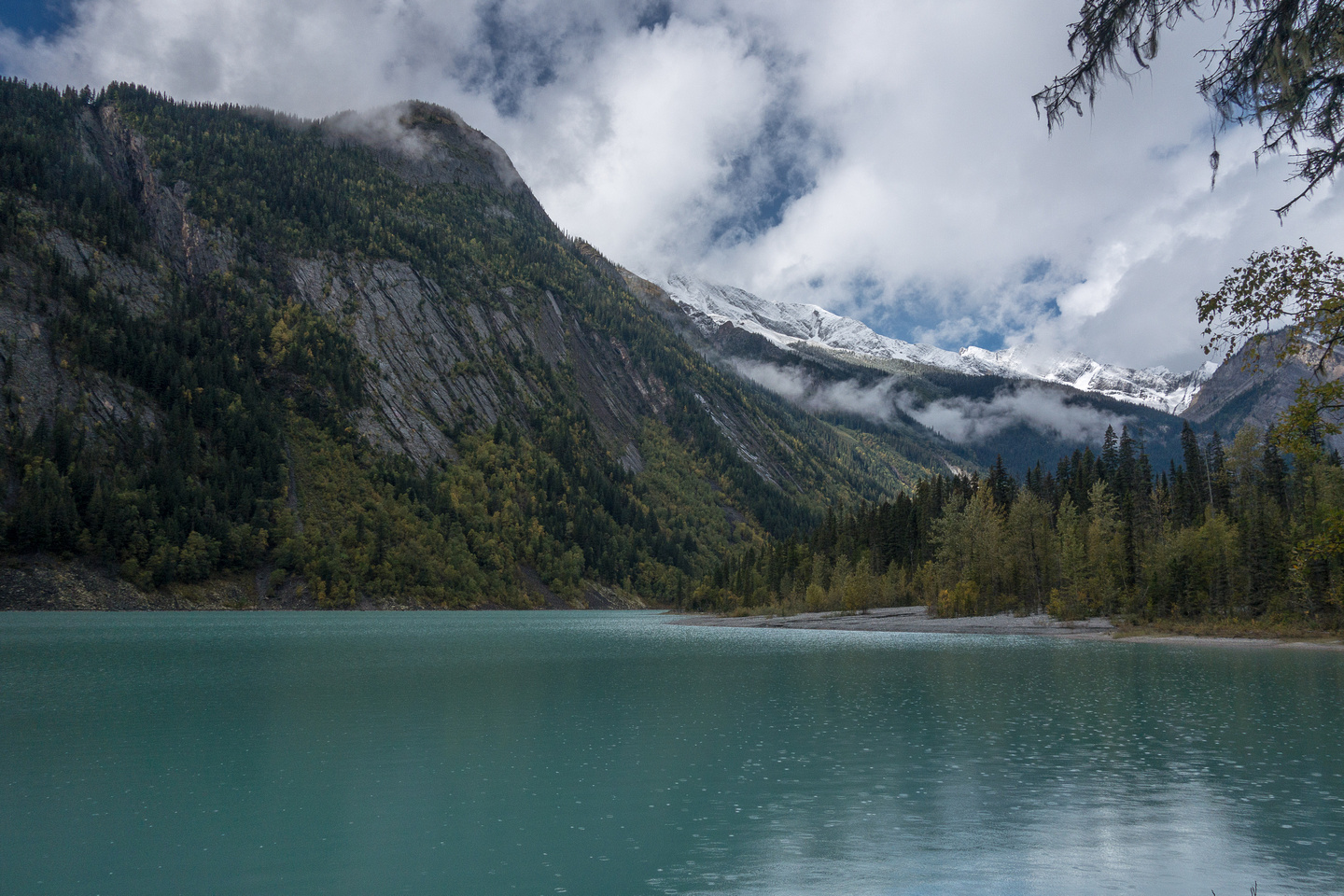Kinney Lake with a gentle rain breaking its surface.