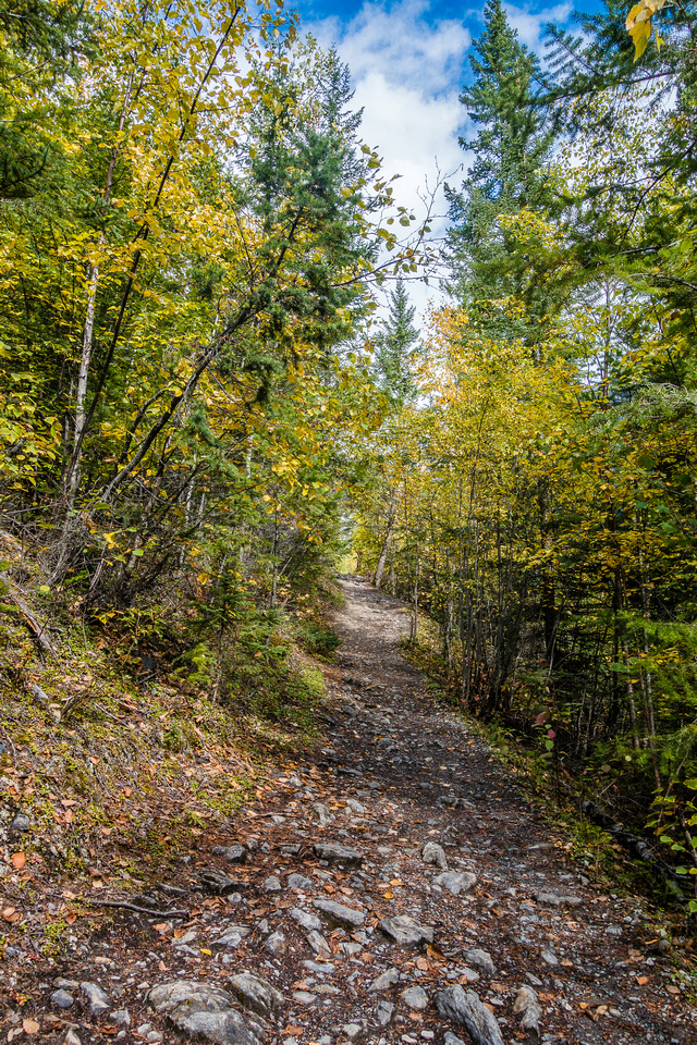 A pleasant trail leads up to the Whitehorn campground and the Valley of a Thousand Falls.