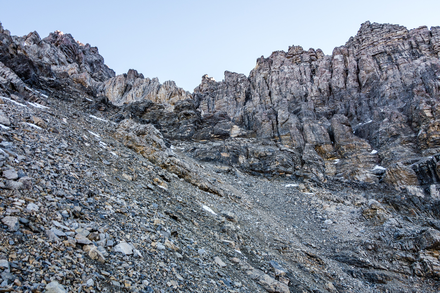 We traversed this terrain - you can make out the twin 'horns' high above our eventual ascent gully at center here.