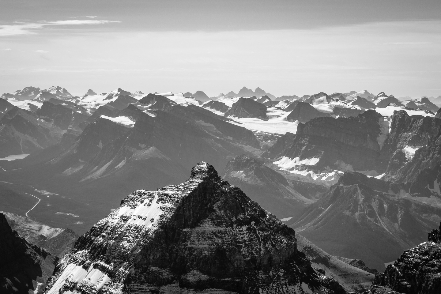Looking toward the  Wapta Icefields - even the Goodsirs are visible.
