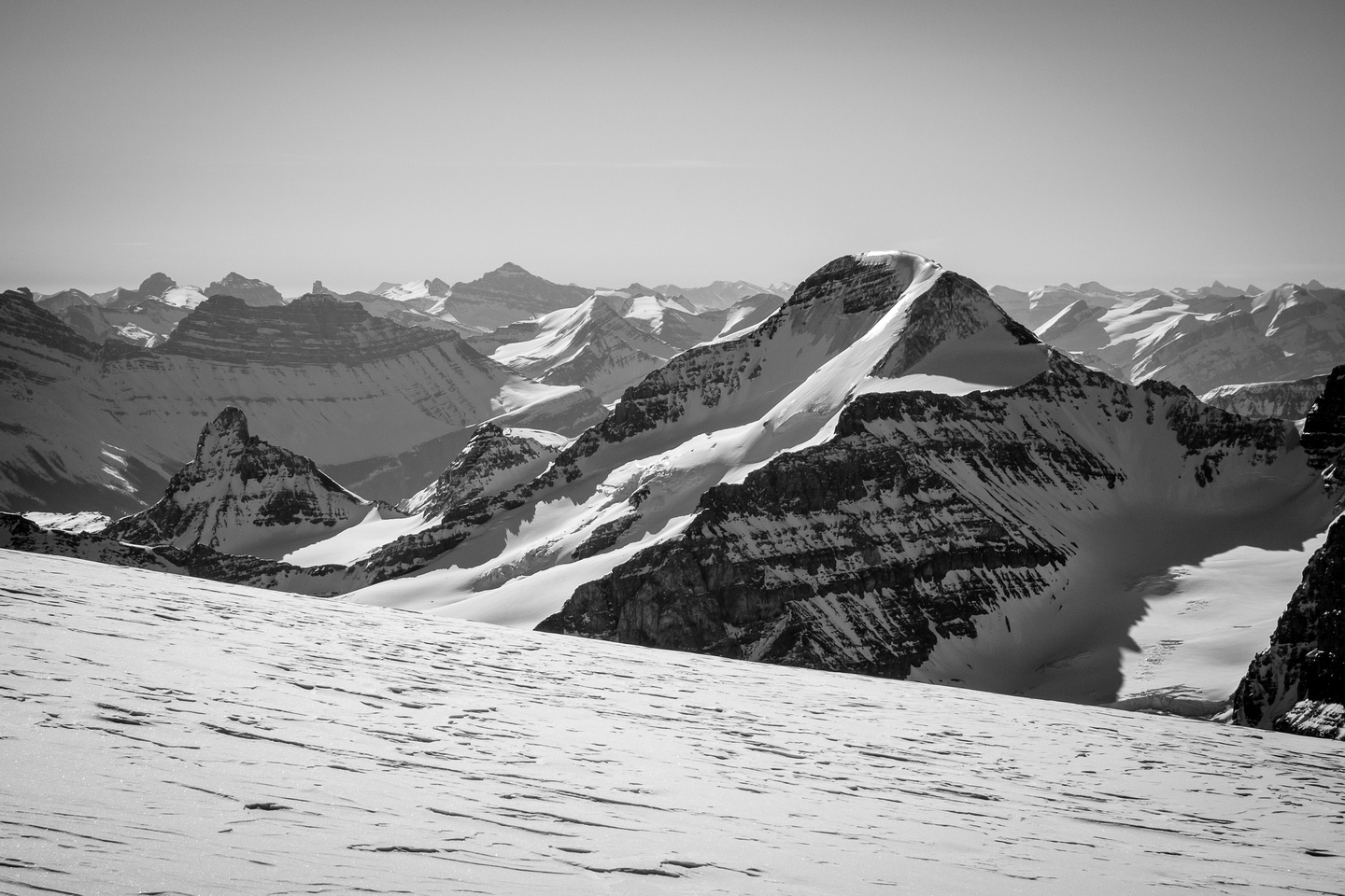 Mount Athabasca with the Silverhorn route showing ice and the AA route visible too.