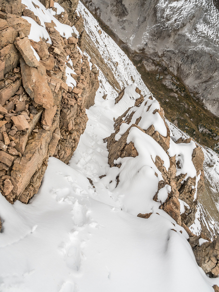Looking down a snowy gully on the lower summit block where the scrambling starts to get interesting.