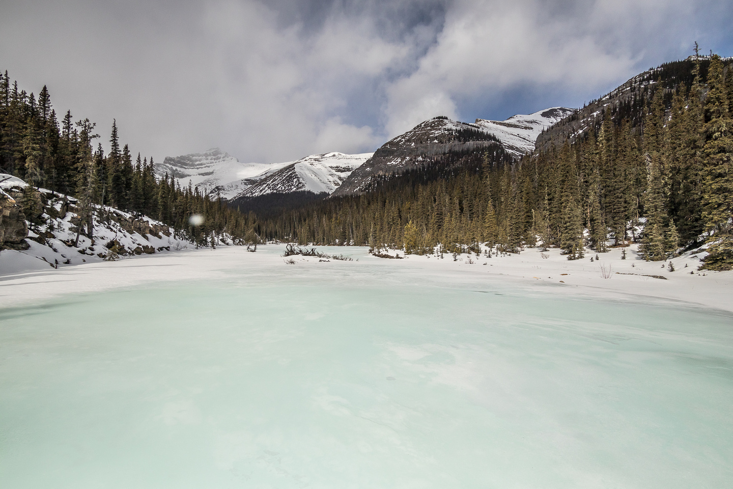 Where the creekbed widened, the water was literally piled up in sheets of blue ice.