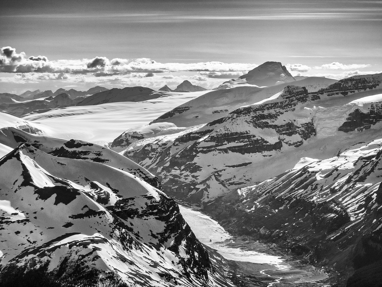 Mount Columbia looms over Andromeda and the Saskatchewan Glacier approach valley.