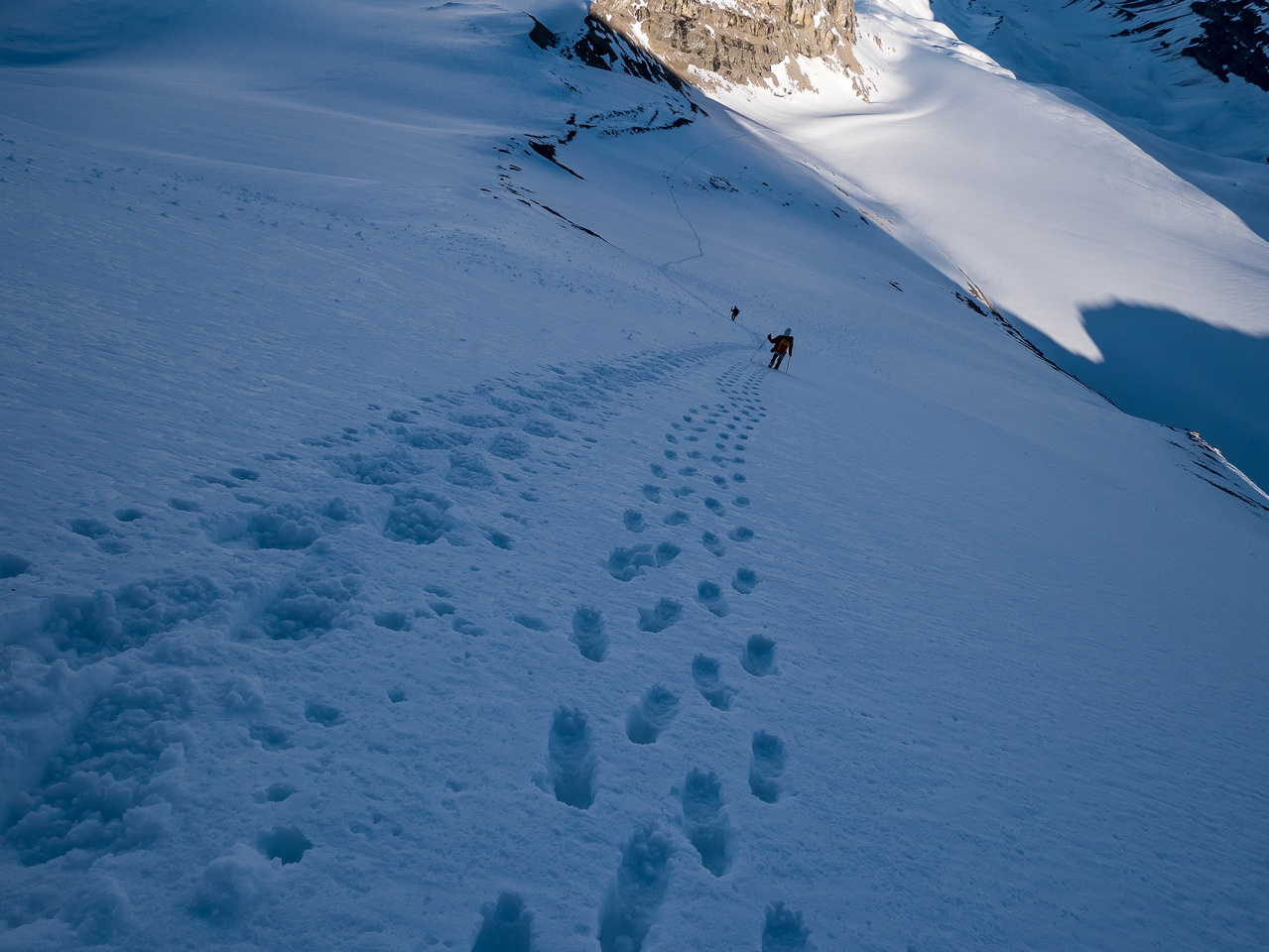 A steep and fast descent down the 30 degree face to the Huntington Glacier.