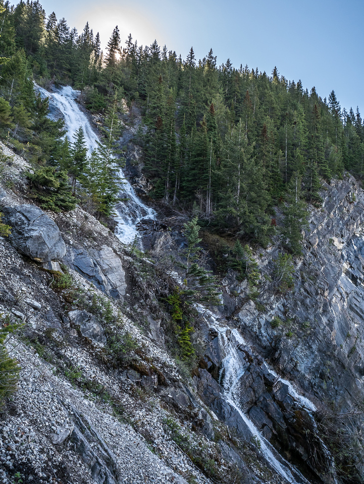 Steep waterfalls in the access gully that you have to avoid on climber's left.