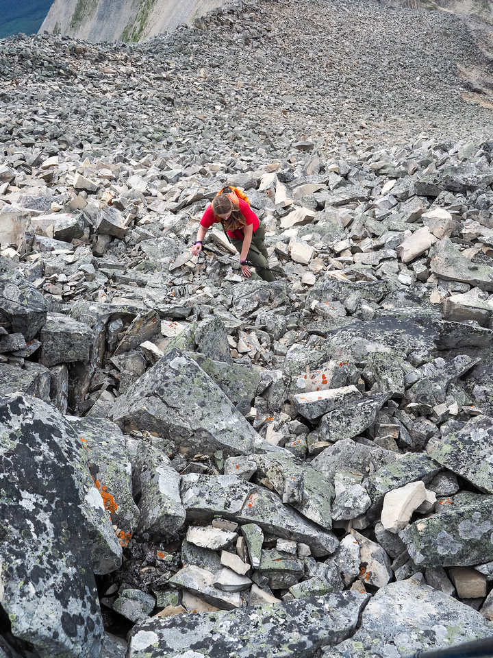 KC works her way up the shifting blocks of slab and boulder as carefully as she can.