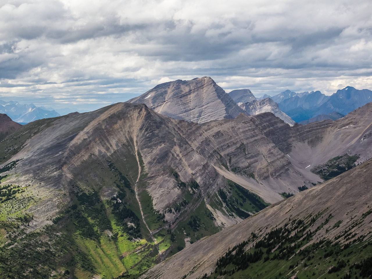 Impressive views over our escape gap looking over Muir SW2 towards Mount McPhail.