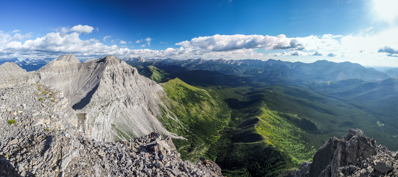 Great morning views looking north and east off the summit. Muir and McPhail at left.