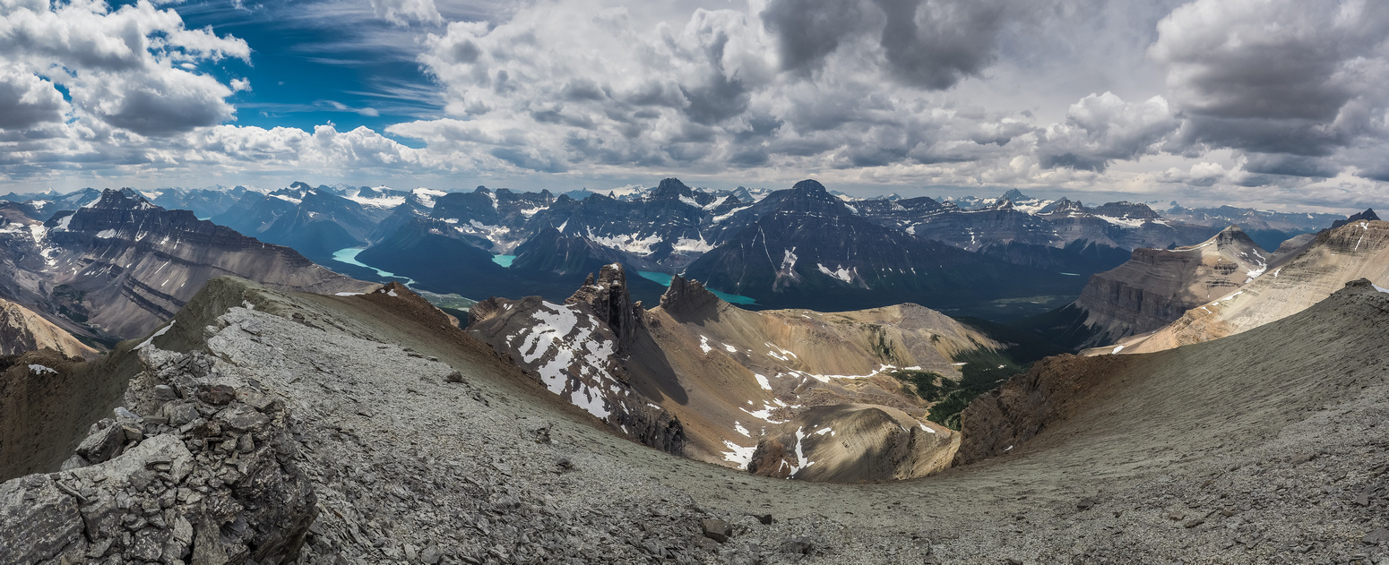 Noyes (L) to Bison (R) includes lakes from Peyto (L) to Mistaya, Cirque, Chephren and Epaulette (R).