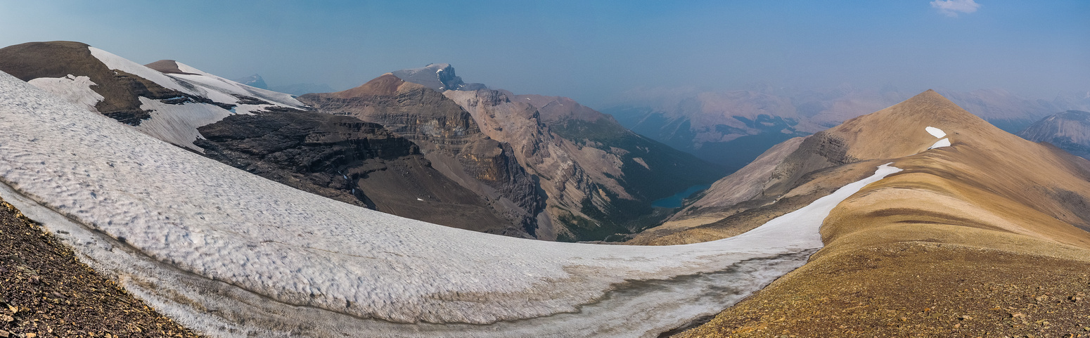 Slightly wider views include our approach / egress ridge at left, Quill Peak left of center and Conical at right.
