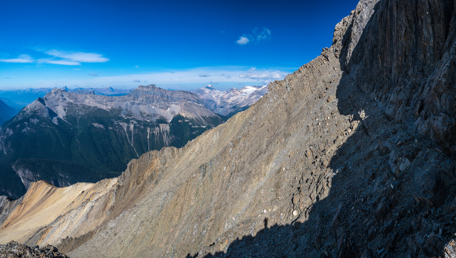 Looking along the easy west aspect scree traverse.